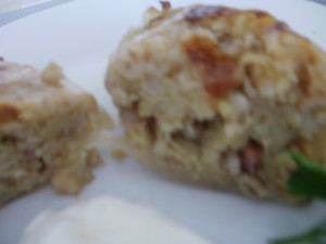 gołąbki z ziemniakami i kaszą jęczmienną